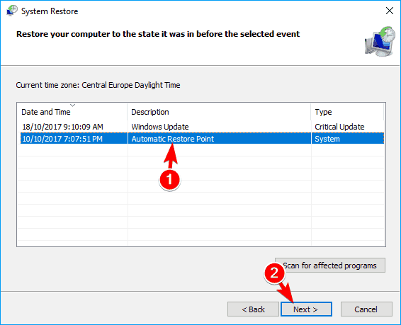 show additional restore points option