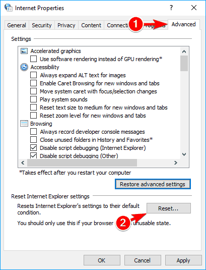 Advanced tab and click on reset